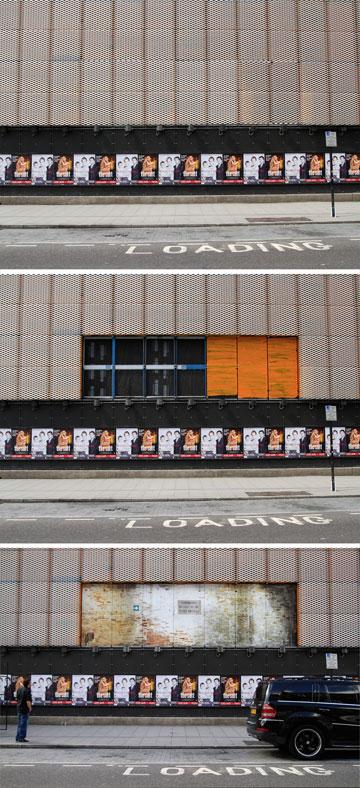 תהליך פירוק חזית התיאטרון בלונדון (צילום: Copyright Haworth Tompkins)