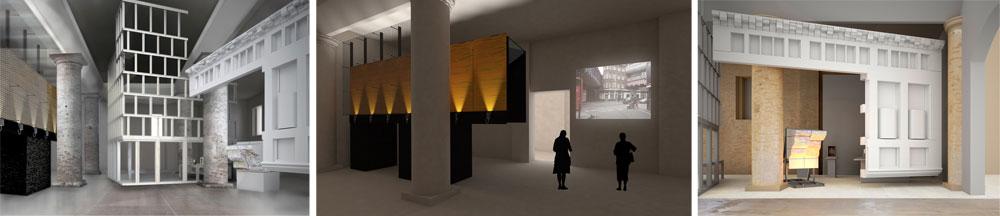 במרכז: חלק מחזית התיאטרון Young Vic הלונדוני, שהועתק לצורך המיצג. הסרטון מציג אדריכלי עבר שהשפיעו על המיצג. מימין ומשמאל: עבודות נוספות של המשרדים הלונדוניים Lynch Architects  ו-Eric Parry Architects (הדמיה: Copyright Eric Parry Architects, Copyright Haworth Tompkins)