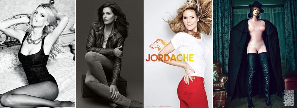 מימין: לינדה אוונג'ליסטה בהפקת האופנה למגזין W, היידי קלום בקמפיין לג'ורדאש, סינדי קרופורד בקמפיין ל-C&A וקלאודיה שיפר בקמפיין ל-Guess. כולן כבר אמהות לילדים, כולן נראות היום מצוין