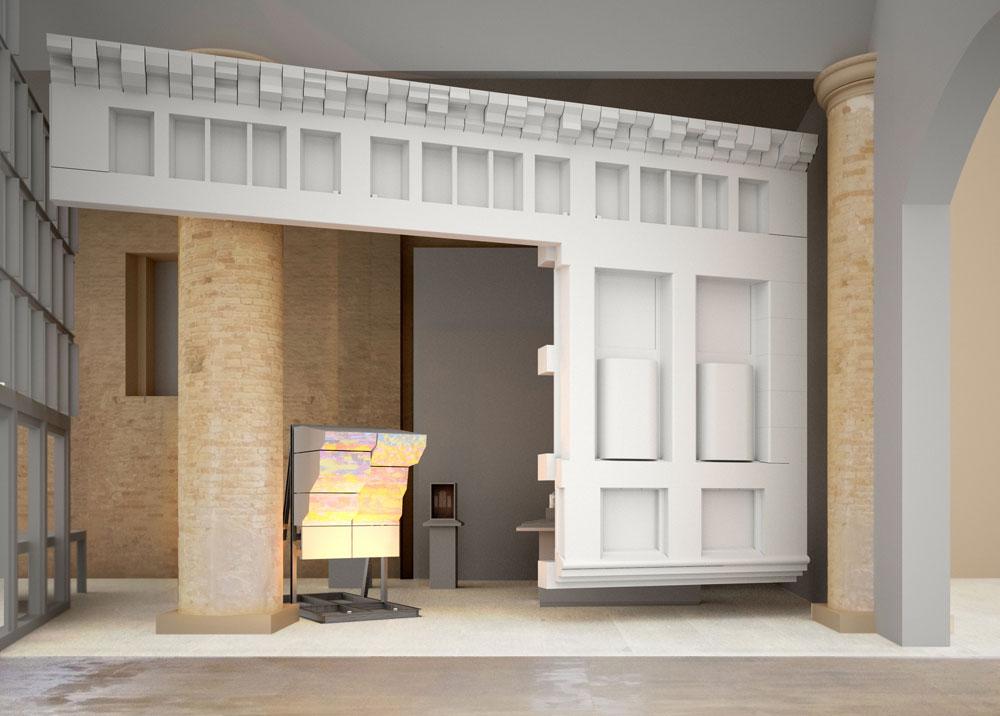 מתוך העבודה של Haworth Tompkins, Lynch Architects  ו-Eric Parry Architects. כל אחד מהם משחזר חזית או אלמנטים ממבנה תרבות בלונדון שתיכנן (הדמיה: Copyright Eric Parry Architects)