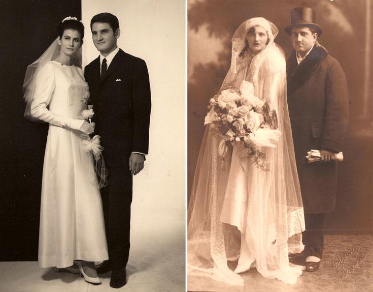 מתוך התערוכה ''צלם חתונות''. מניה ודניאל קרנר בסוף שנות ה-20, קרקוב, פולין (מימין) והזוג נגה רייכטלר ובועז פורטר בשנת 1968, תל אביב  (צילום: נגה רייכטלר ובועז פורטר, מניה ודניאל קרנר)