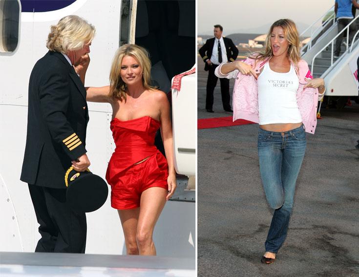 לסלבס יש חוקים אחרים. ג'יזל בונדשן עולה על מטוס ומפרסמת את מותג הלנז'רי ויקטוריה'ס סיקרט (מימין) וקייט מוס חוגגת לווירג'ן אטלנטיק בלבוש מינימלי (צילום: gettyimages)