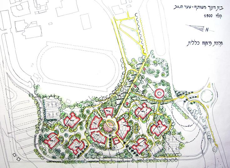 תוכניות אדריכלות הנוף של בית הספר (באדיבות דן צור - ליאור וולף אדריכלי נוף בעמ)