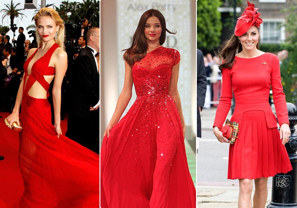 מימין: הנסיכה קייט מידלטון, מירנדה קר בתצוגת אופנה של דיוויד ג'ונס ונטשה פולי. השמלה האדומה חוצה מעמדות ולאומים, גילים ופרופורציות גוף (צילום: gettyimages)