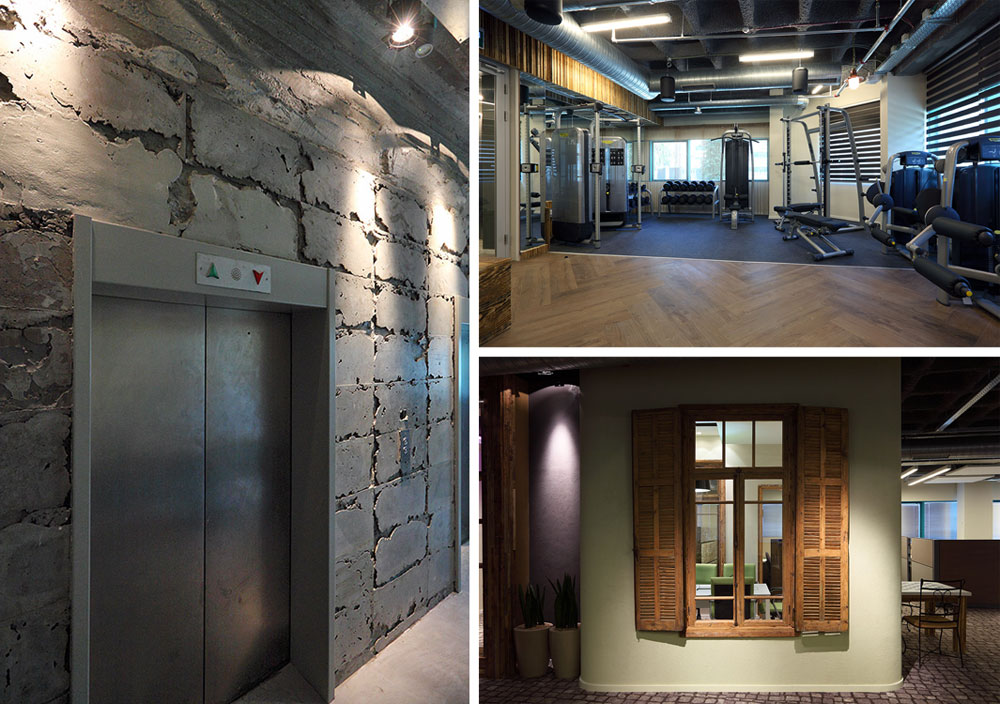 הקירות והתקרות באזור המעליות נחשפו, להשגת מראה תעשייתי. חדר הכושר מאפשר להתאושש מהעייפות המוכרת (ולהישאר עוד קצת בעבודה) (צילום: עוזי פורת)