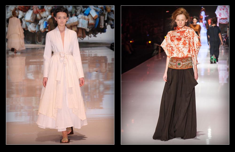 תצוגות האופנה של אלמביקה (מימין) וששון קדם בשבוע האופנה גינדי תל אביב בשנה שעברה. המעצבים יחזרו למסלול גם הפעם (צילום: ערן סלם, טל ניסים)
