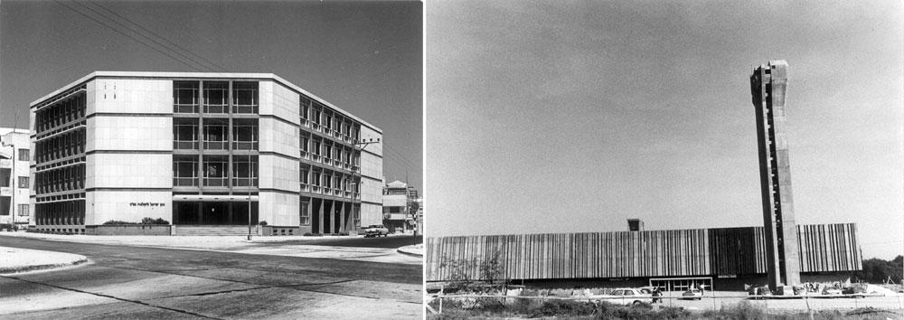 שני מבנים מפורסמים של המשרד: בניין עיריית באר שבע (מימין) שהפך לסמל העיר, ובנק החקלאות ברחוב קרליבך בתל אביב (מיועד להריסה לטובת מגדל, משמאל) (באדיבות נדלר, נדלר, ביקסון, גיל אדריכלים)