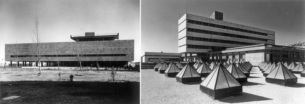 כמו בפרויקט למעלה, גם בספרייה הלאומית (בצילום מימין), גם במרכז הכשרה לטכנאי בזק בירושלים (משמאל) וגם בספרייה המרכזית של אוניברסיטת ת''א (למטה) ניכרת טביעת האצבע של הנדלרים: קופסאות מלבניות שמונחות זו על גבי זו בהצלבה, והכובד שלהן מטושטש באמצעות חריצת הבטון ורגישות ''מוזיקלית'' למקצב של החלונות, שהוא אף פעם לא מקרי (באדיבות נדלר, נדלר, ביקסון, גיל אדריכלים)