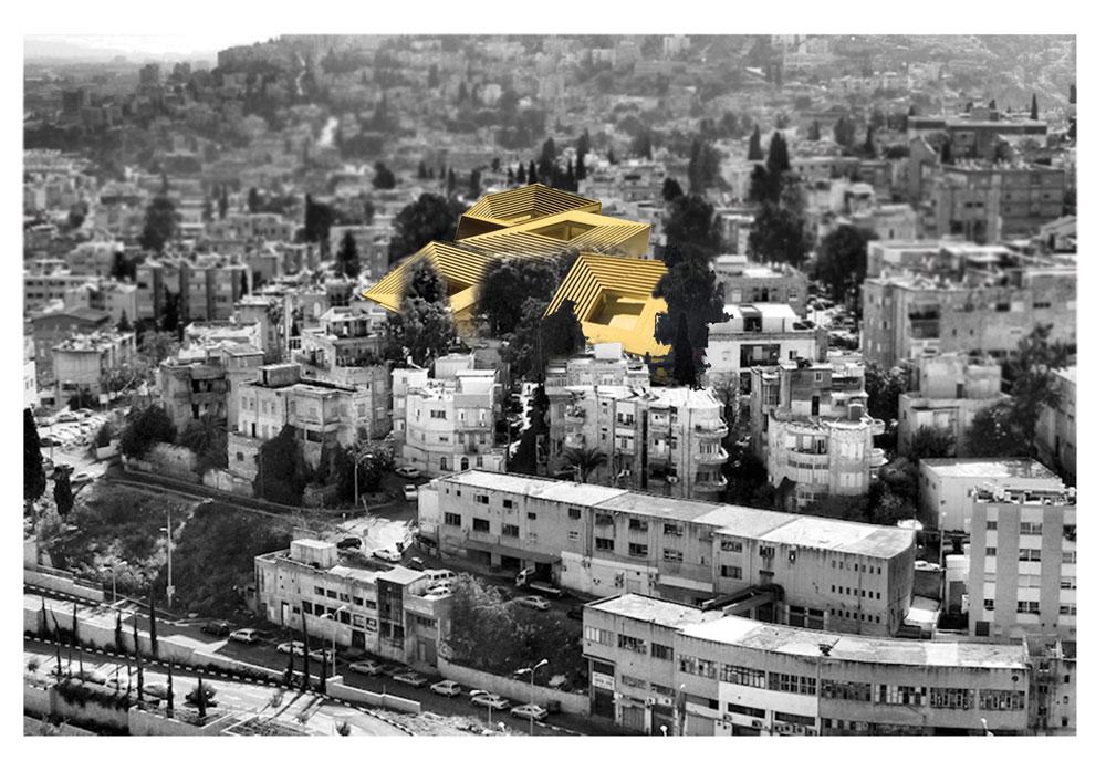 מכיוון שהפרויקט הירושלמי מנותק מהרקמה העירונית, ''שותל'' קולמן את ההצעה של רפי סגל (שנזנחה) בחיפה, ושואל בהיתוליות איך באמת אייקון צריך להיראות (הדמיה: אורן קולמן)