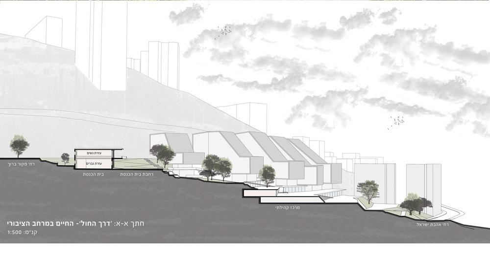 בולט בפרויקט הוא שרטוט הקו האלכסוני, שכמעט מובן מאליו, אך אינו מאפיין את מבני המגורים בחיפה, שרובם ככולם מזדקרים כתיבות (תכנית: שירן גליק חובש)