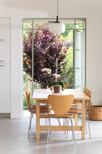 דלת שיוצאת מפינת האוכל אל הגינה (צילום: שי אפשטיין)