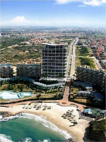 חוף לעשירים או חוף לכולם? הדמיית מלון ''כפר הים'' המורחב (באדיבות עיריית חדרה)