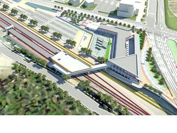 מרכז התחבורה המתוכנן (הדמיה: לוצ'יאן פאינה – מש' אדריכלים עוזי גורדון)