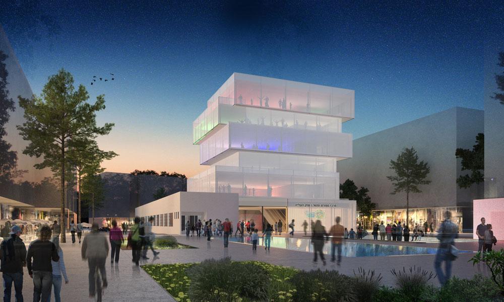 התוכנית הזוכה בתחרות האדריכלים הסגורה מטעם העירייה: מבנה ציבור על חורבות השוק הוותיק שננטש.  (תכנית: ציונוב- ויתקון אדריכלים)