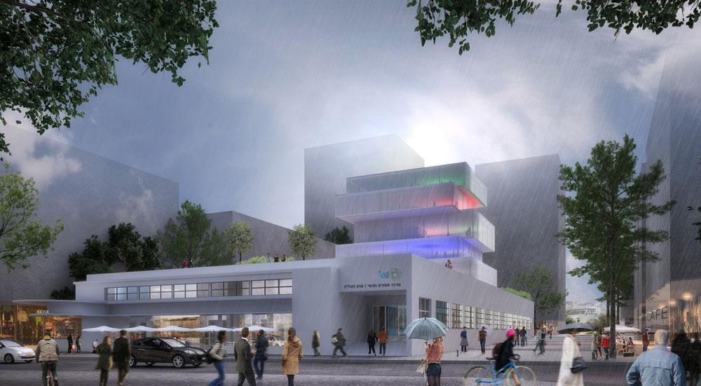 הבניין ייעטף בקירות מסך המורכבים מזכוכית ורשת פולימרית, בהחלטה עיצובית שאמורה להזכיר את רשתות הפלסטיק שבהם עושים קניות בשוק (שכבר איננו) (תכנית: ציונוב- ויתקון אדריכלים)