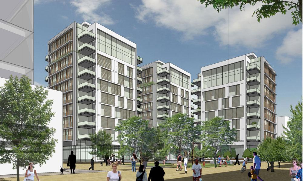 וזה פרויקט המגורים, שבמסגרת הקמתו מוקם הפרויקט הציבורי. במקור, המגדלים היו גבוהים יותר אך התנגדות ציבורית גרמה לפיצול ולהנמכה (הדמיה: ישר אדריכלים)