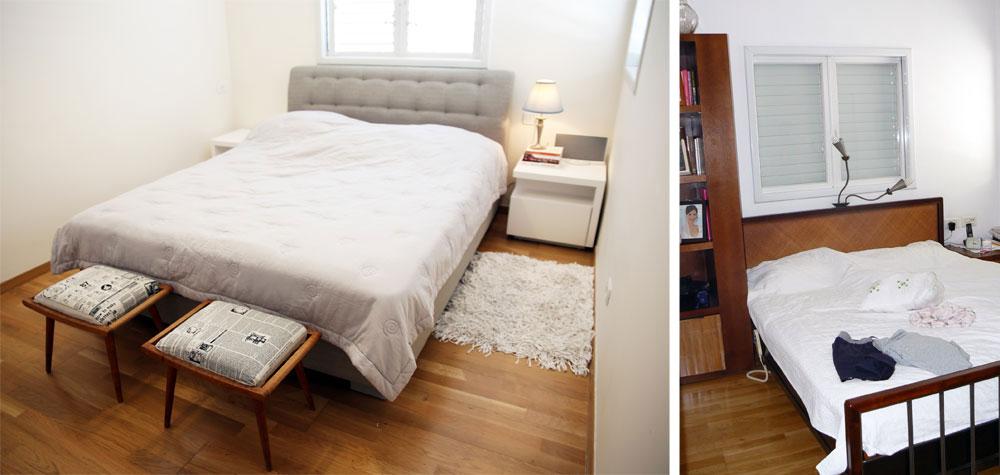 חדר השינה ''לפני'' (מימין) ו''אחרי'' (משמאל). חיפוי הפרקט היה והושאר. המיטה החדשה בהירה וגבה מרופד. שני שרפרפים רופדו והוצמדו אליה (צילום: לימור הרצוג אהרוני)