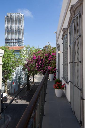מבט מהמרפסת על רחוב שלוש ומגדל נווה צדק (צילום: טל ניסים)