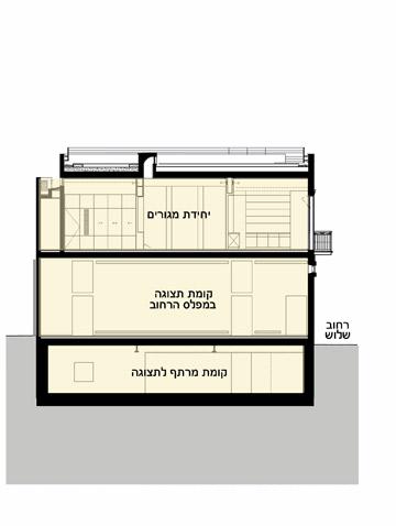 חתך הבניין: שתי קומות תצוגה וקומת מגורים (חתך: חתך: אדריכל אורי גלזר בשיתוף עם אדריכלית נילי גל מסטר)