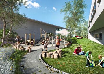 בית הספר שנבנה בקרית ביאליק (הדמיה: א.ב. אדריכלות נוף ו- AP Studio 3D)