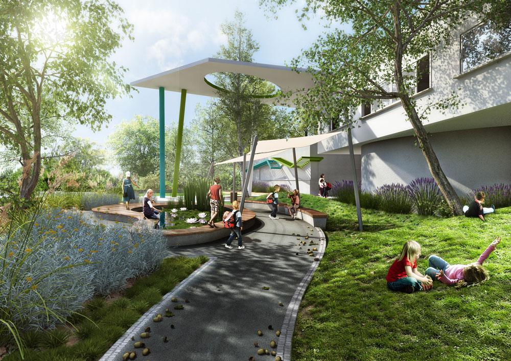 אך האדריכלית של בית הספר בראשל''צ וגם של זה שייחנך בקרית ביאליק בשנה הבאה (בהדמיה למעלה), תגית כלימור, מדגישה: החינוך למודעות סביבתית יותר חשוב מהאדריכלות (הדמיה: א.ב. אדריכלות נוף ו- AP Studio 3D)