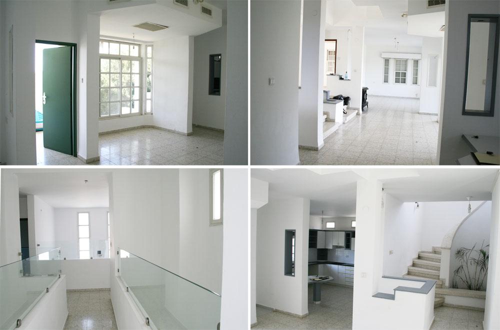 תמונות ''לפני'' (כדאי להשוות עם התמונות שלמעלה): למעלה מימין מבט מכיוון המטבח אל הסלון, למעלה משמאל פינת האוכל והיציאה החוצה (שהוזזה בשיפוץ והפכה לחלון שמשמש רקע לקמין), למטה מימין המטבח הישן וגרם המדרגות, ומשמאל ה''גשר'' בקומת חדרי השינה (צילום: ענבר מנגד)