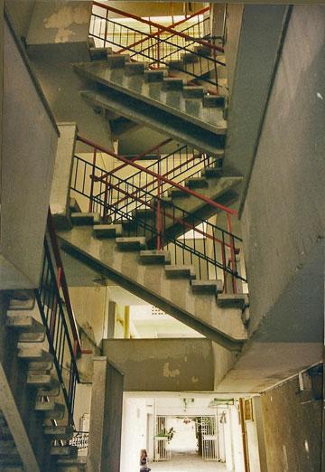 גרמי המדרגות בבתי הפטיו בערד, 1962 (צילום: ערן טמיר)