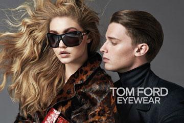 עולם האופנה הוא משפחה אחת גדולה. פטריק שוורצנגר וג'יג'י חדיד בקמפיין של טום פורד