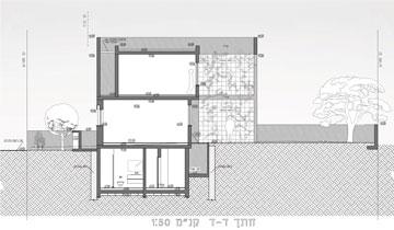 חתך הבית מהצד (תכנית: עמיחי שרון)
