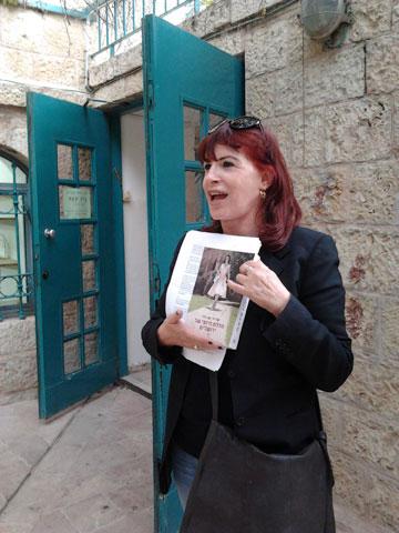 עורכת סיורים בירושלים בעקבות הספר. שרית ישי-לוי (צילום: אריאלה אפללו)