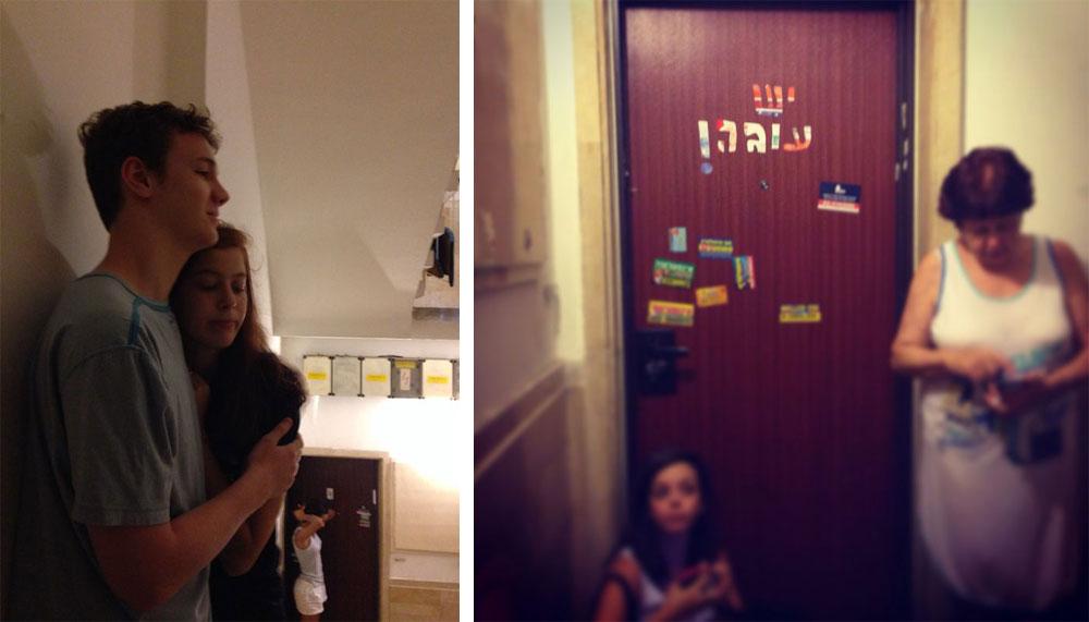 סוף סוף מכירים את השכנים. תמונות מחיי אזעקה בבניין מגורים ישן בתל אביב (צילום: מאיה הפנר )
