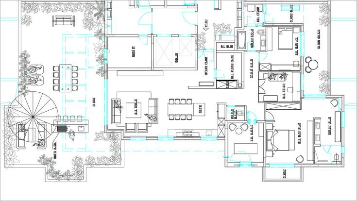"""הפנטהאוז משתרע על פני 150 מ""""ר בנויים ועוד כ-100 מ""""ר גג ומרפסות. התוכנית המקורית של הדירה שונתה על ידי גולן: דלת הכניסה הורחקה לכיוון חדר המדרגות ויצרה מבואת כניסה פנימית (תכנית: אמיר גולן)"""
