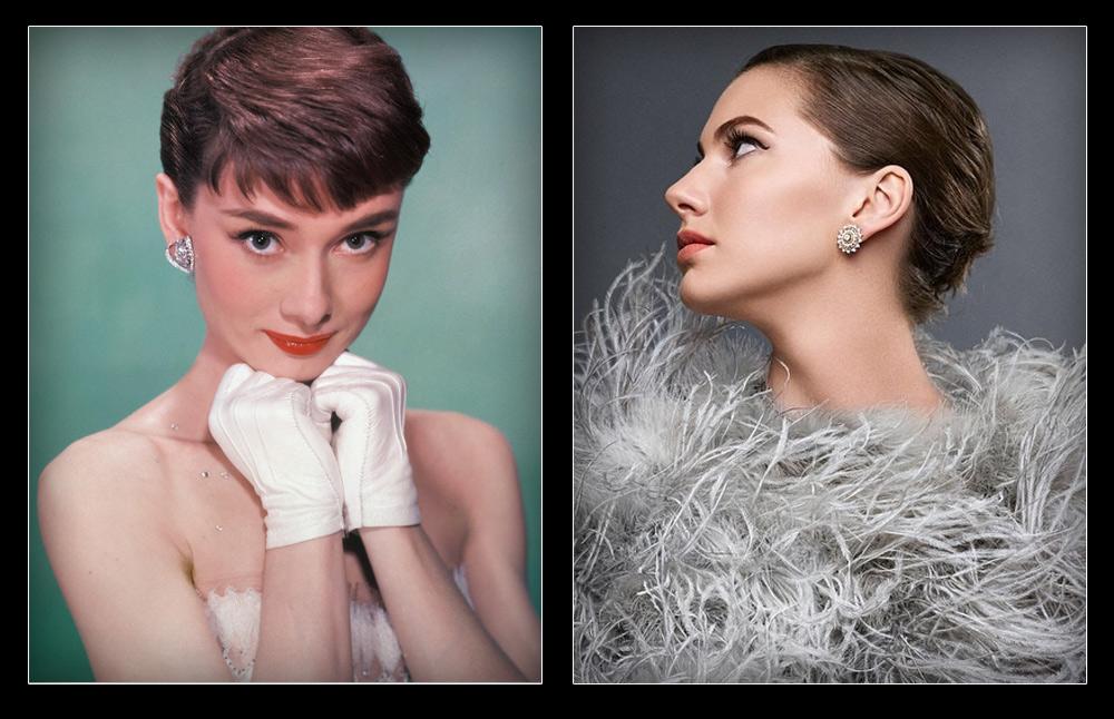 אמה פרר (מימין) ואודרי הפבורן. אי אפשר להתעלם מהדמיון (צילום: gettyimages, אינסטגרם)