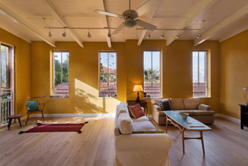 חלונות במקצב קבוע בסלון (צילום: אסף פינצ'וק)