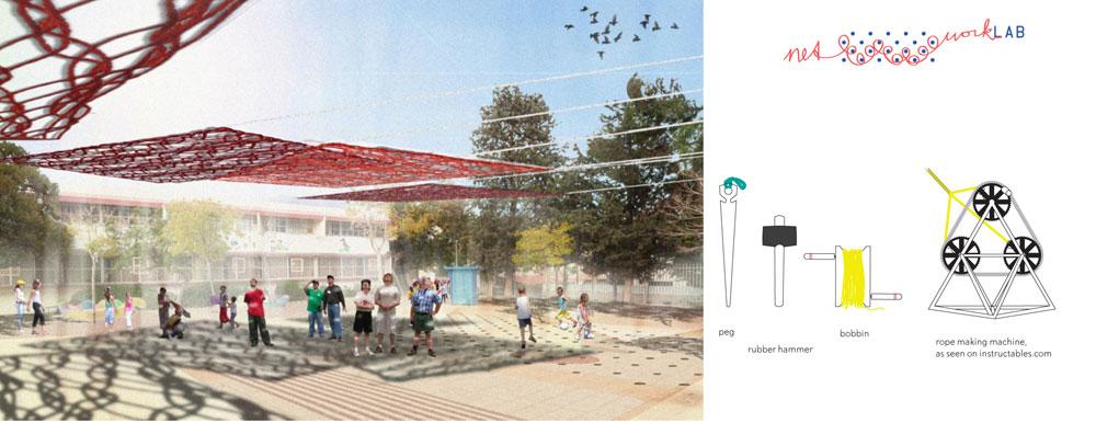 הפתרון שזכה בתחרות משלב את הקהילה. התלמידים והשכנים ייצרו יחד עם המעצבים רשתות, שיספקו צל בשלל אלמנטים: שטיחים, ערסלים ועוד (באדיבות מוזיאון העיצוב חולון)