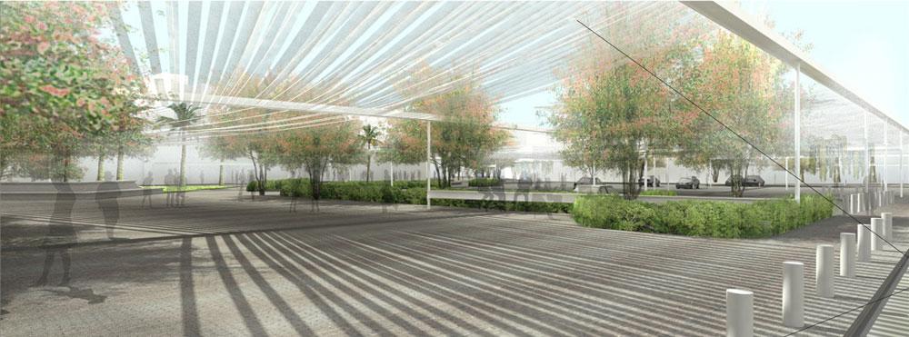 כך זה ייראה: רצועות רשת ייתלו שתי וערב ברחבי השטח, ובהיקף יותקנו נתזי מים שירטיבו את הצמחים ויעודדו את צמיחתם בלי לחסום את המבט לשמיים (באדיבות מוזיאון העיצוב חולון)