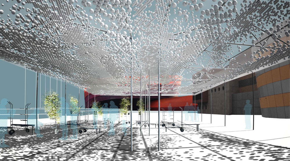 זו ההצעה שזכתה בתחרות: תקרה שקופה התומכת ב-20 אלף כדורי ג'ימבורי, תספק צל לנוכחים בכיכר באופן שמשתנה כל הזמן (באדיבות מוזיאון העיצוב חולון)