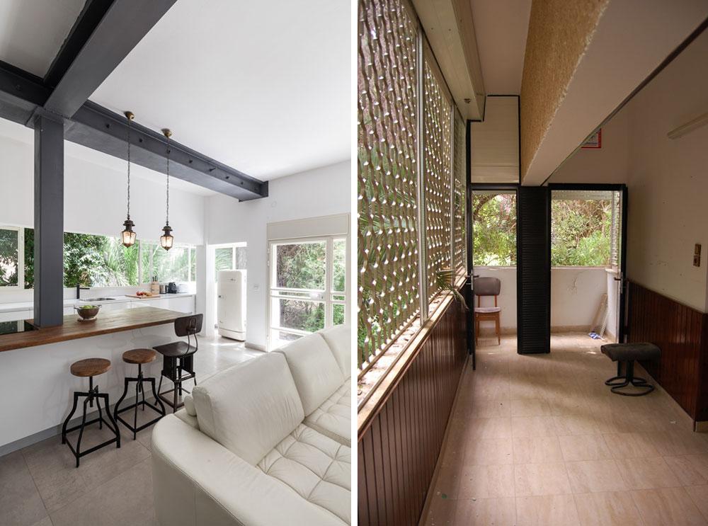 """בדירה המקורית הייתה מרפסת פתוחה לגינה, אולם במהלך השיפוץ היא נסגרה באמצעות חלון רוחבי, ממסוגר בפרופיל בלגי לבן. מימין: """"לפני"""". משמאל: עכשיו נמצא שם המטבח. בצד, בתוך נישה שנסגרה בחלון קבוע, מוקם מקרר ישן של """"אמקור"""", ולצידו יש דלת יציאה לגינה. בין המטבח לסלון עומד """"אי"""" לעבודה ואכילה, וממנו יוצא עמוד פלדה, שתומך בקורה שמעל (צילום: טל ניסים, יונתן דר)"""