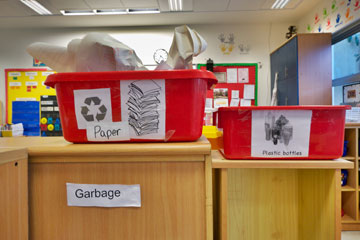 הפרדת אשפה ומיחזור בכיתות (צילום: איתי סיקולסקי )