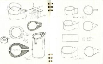 בקנה: כוסות קפה, מכלים לכלי כתיבה, כסאות ושולחנות ( תכנון: אירנה גולדברג ופיצו קדם)