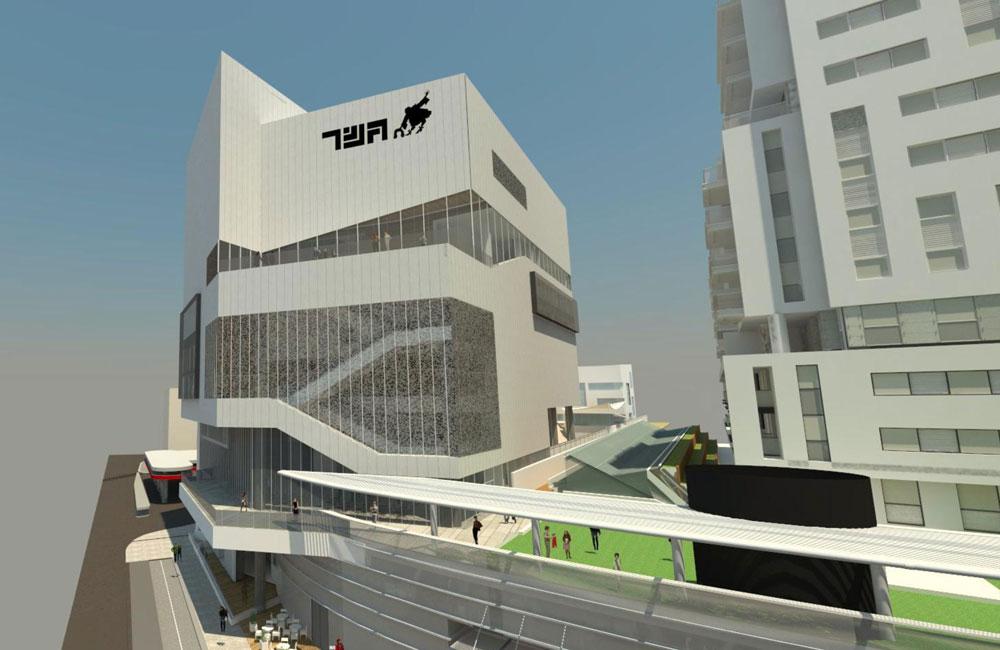 כך ייראה בניין תיאטרון ''גשר'', שיעזוב את יפו ויעבור למתחם השוק הסיטונאי בתל אביב. הוועדה המקומית אישרה את הגבהתו המעשית, משום שקומת הקרקע תיספר מגובה מפלס הפארק המוגבה