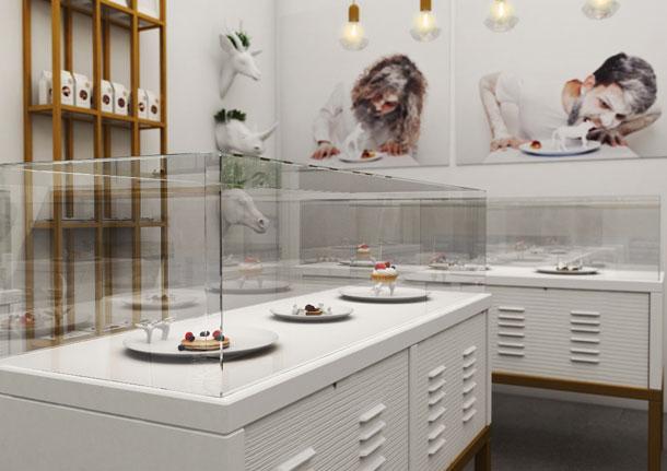 מסביב לצלחות עוצבה חנות פטיסרי (צילום: רועי רייפלד , באדיבות HIT מכון טכנולוגי חולון)