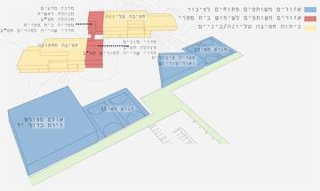 הציבור ייהנה מהחלק הכחול. הכיתות והמרחבים הלימודיים לא ייפתחו למענו (תכנון: אליקים אדריכלים)