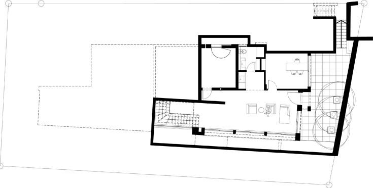 תוכנית המרתף, עם סלון נוסף, מטבחון, חדר רחצה, ממ''ד שמשמש כחדר אורחים ומשרד  (תכנית: קרן אבני)