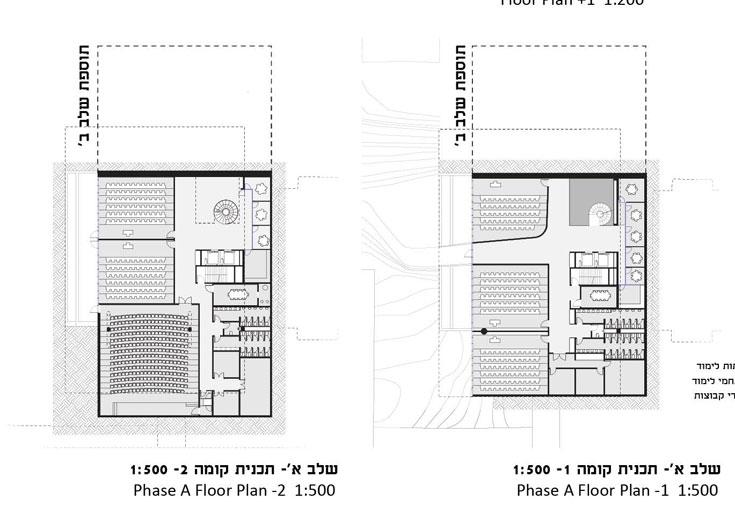 אם יוחלט לפצל את הבנייה לשני שלבים, רק החלקים הדרומיים של הקומות ייבנו בשלב הראשון. החלקים הצפוניים ייבנו בהמשך (תכנון: גוטסמן שמלצמן אדריכלות)