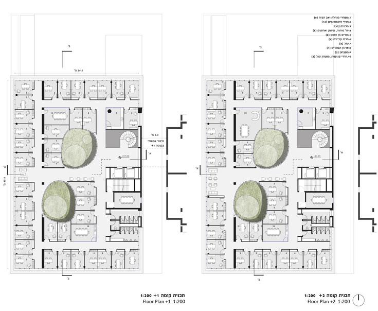 תוכנית שתי הקומות העליונות: משרדים לחברי הסגל ושני פתחים בתקרה שיכניסו אור (תכנון: גוטסמן שמלצמן אדריכלות)