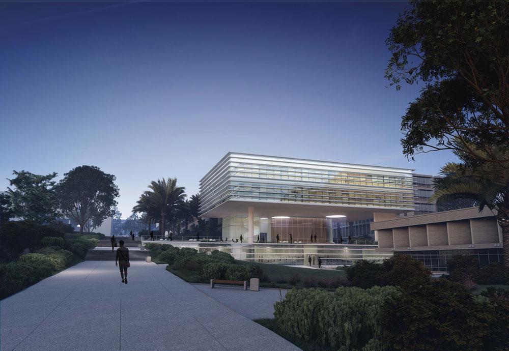 הדמיה של הבניין החדש, מבט מכיוון הכניסה הראשית לאוניברסיטה. ההנהלה רצתה בניין בן שבע קומות וקיבלה מבנה נמוך יותר שמשתלב בסביבה (הדמיה: סטודיו aiko)