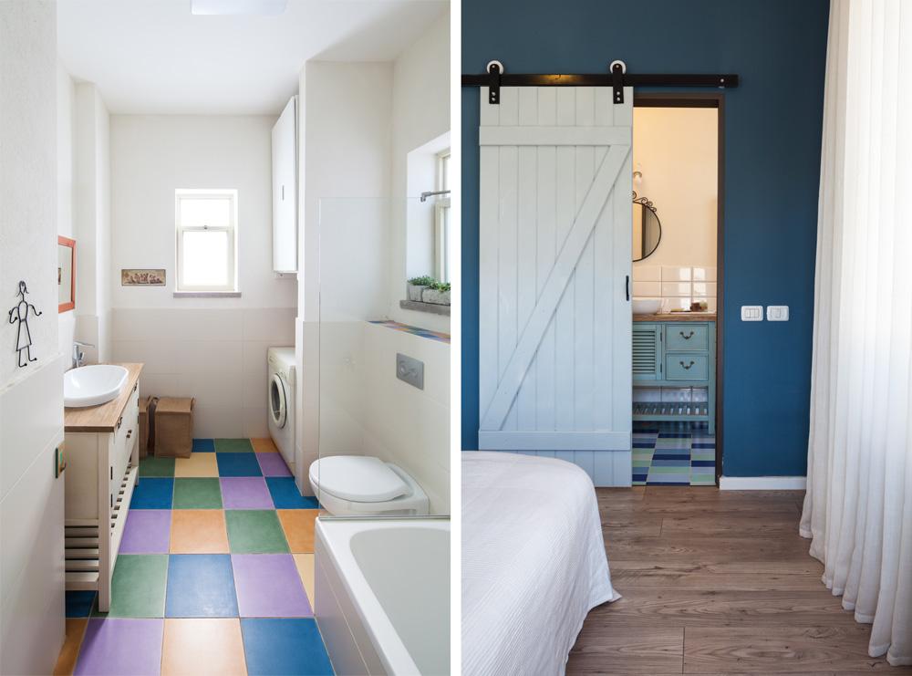 חדרי הרחצה: אריחים בגוונים כחולים-ירקרקים אצל ההורים, פסיפס של צבעים אצל הילדות. משיקולי תקציב, נבחרו אריחים שמשמים בדרך כלל לחיפוי בריכות, ולכן מחירם נוח יותר (צילום: טל ניסים)