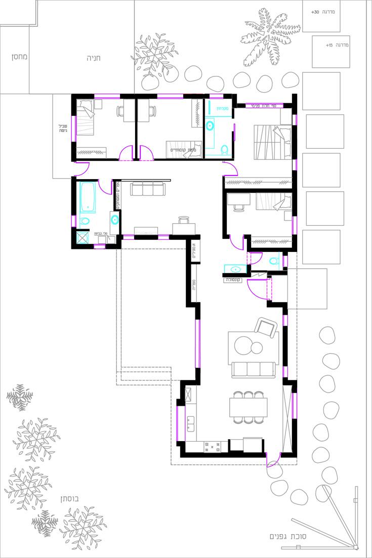 הבית תוכנן בידי האדריכלית תהילה רנד מושקוביץ ועיצוב הפנים נעשה בידי אילת כהן. בחלק הרחב, שפונה לרחוב, נמצאים חדרי השינה והמשפחה, ובחלק שפונה לאחור המטבח והסלון (תכנית: אילת כהן)