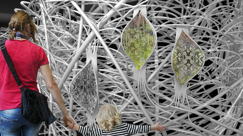 התחום שבו יעסוק הביתן הישראלי, ביו-מימטיקה, מנסה לחקות את הטבע באופן מלאכותי. אדריכלות, הנדסה וביולוגיה ייפגשו כדי ליצור מבנים סינתטיים בהשפעת מבנים טבעיים (הדמיה: גיא הירש)